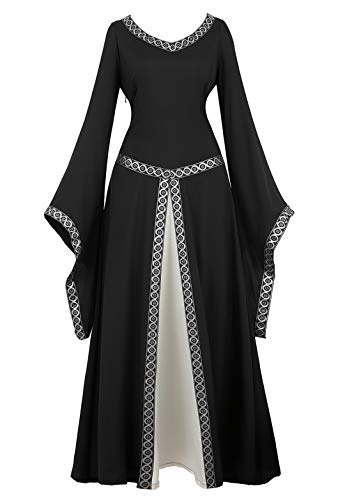 Womens Irish Medieval Dress Renaissance Costume Retro Gown Cosplay Costumes Fancy Long Dress Black-M -