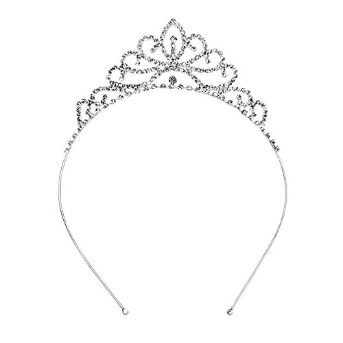(OUFO Crystal Tiara for Girls Sliver Flower Rhinestone Crowns Royal Hair Jewelry Decor Vintage Wedding Tiaras Princess Headband)