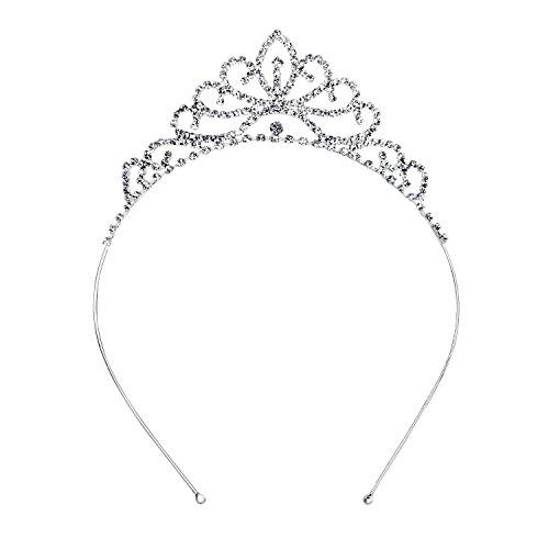 OUFO Crystal Tiara for Girls Sliver Flower Rhinestone Crowns Royal Hair Jewelry Decor Vintage Wedding Tiaras Princess Headband Birthday -