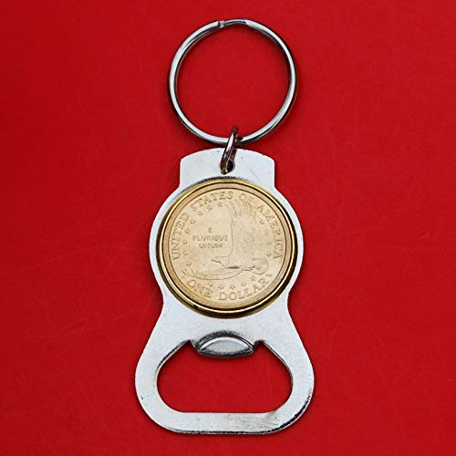 US 2000~2008 Sacagawea Dollar BU Unc Coin Silver Tone Key Chain Ring Bottle Opener - Eagle in Flight Reverse