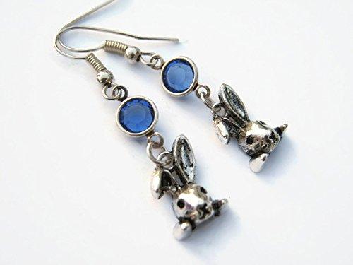Bunny Birthstone Earrings, Personalized Floppy Eared Rabbit Earrings, Animal Earrings, Farm Country - Antiqued Bunny