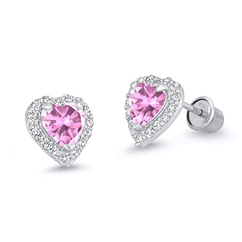 925 Sterling Silver Rhodium Plated Pink Heart Cubic Zirconia Screwback Baby Girls Earrings