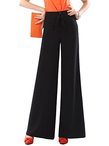 Gooket Women's High Waist Wide Leg Pants Long Trousers Slacks Black Tag 2XL-US 6