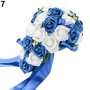 soAR9opeoF Wedding Bouquet Bridal Flower Bridesmaid Artificial Foam Rose Flower Handmade Decor White & Royal Blue 9