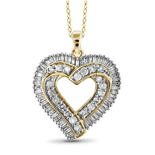 (JewelExcess 1 Carat T.W. White Diamond Gold over Silver Overlaping Heart Pendant)