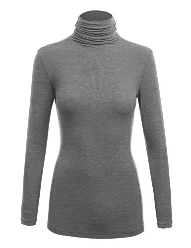 - WSK1030 Womens Long Sleeve Ribbed Turtleneck Pullover Sweater S Heather_Dark_Grey