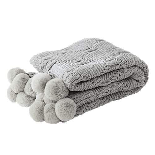 LIFEREVO Luxury Acrylic Chenille Faux Fur Pompoms Fringe Throw Blanket Diamond Jacquard Ultra Soft (Gray, ()