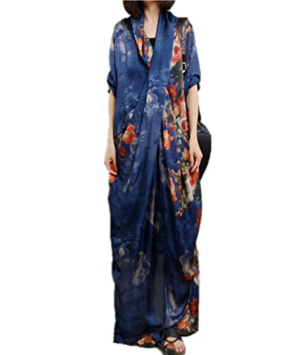 YESNO JK7 Women Long Maxi Floral Swing Dress colorful Bohemia 'A' Skirt Ink Painting Long poll-Up Sleeve (One Size, Blue Type2) (Silk Dress Chiffon Maxi)