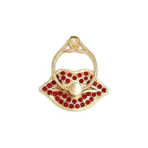 Hongfei Lips Cell Phone Finger Ring Holder Diamond 360 Rotation Stand for iPhone Samsung Android Mobile Phone and Tablet fit Phone Case Red - Spinner Mobile