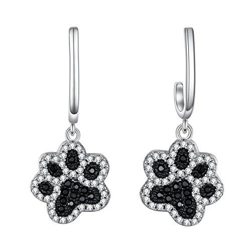 FANZE Women 925 Sterling Silver Cute Zircon Puppy Paws Footprint Dangle Piercied Earrings Black and White (Puppy Dangle Earrings)