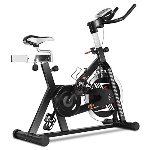 GOPLUS Indoor Cycling Bike, Stationary Bicycle with Flywheel and LCD Display, Cardio Fitness Cycle Trainer Professional Exercise Bike for Home and Gym Use (48 LBS Flywheel)