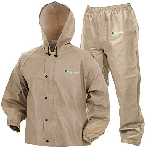 Frogg Toggs Pro Lite Waterproof Rain Suit, Khaki, Size Medium/Large
