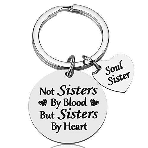 Best Friend Friendship Gifts for Women - Not Sister by Blood But Sisters by Heart Keychain, Best Friend Gifts for Women Teens Sisters, Birthday Gifts for Best Friend BFF Jewelry