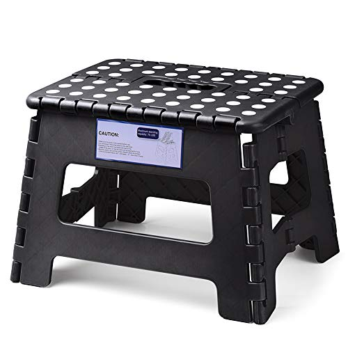 (Acko Folding Step Stool Lightweight Plastic Step Stool,9 inch Foldable Step Stool for Kids and Adults,Non Slip Folding Stools for Kitchen Bathroom Bedroom (Black))