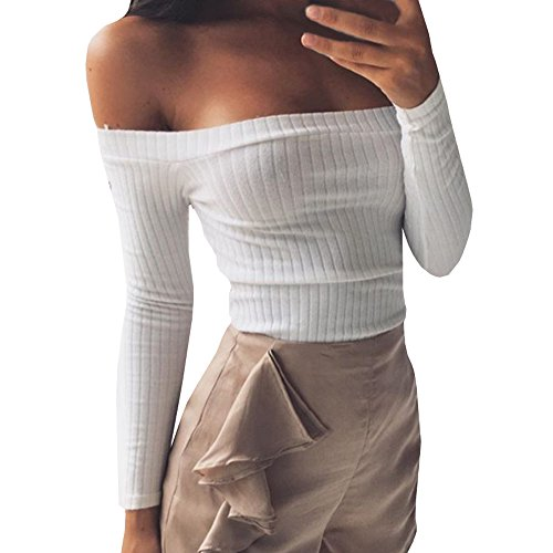 Gobought Womens Slim Off Shoulder Long Sleeve Rib-Knit Crop Pullover Tops (S, White) - Rib Crop