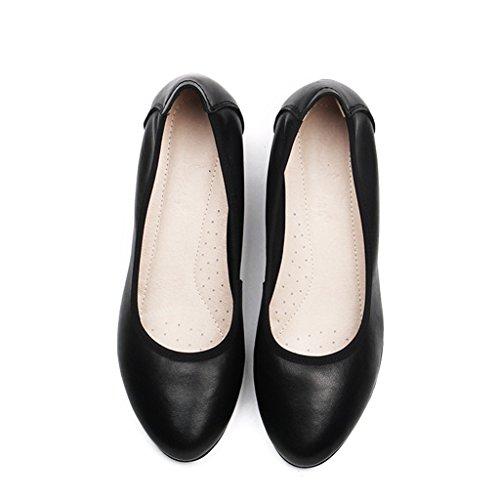 ALUK- Damenschuhe / Arbeitsschuhe / schwarz / spitz / weich besohlte Schuhe / rauh mit / bequem / professionelle Schuhe ( Farbe : With high 3.5cm , größe : 36-Shoes long230mm ) With High 2.5cm