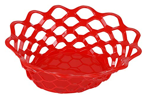 Mintra Home Bread BasketMintra Home Plastic Bread Or Fruit Serving Oval Basket, Storage Basket, Food Basket - For Kitchen Countertop and Dining Table - Perfect For Picnic (Red)