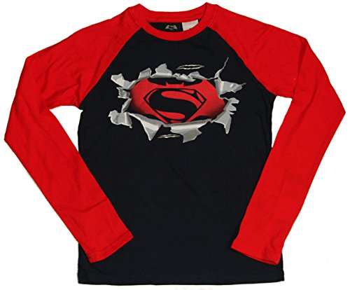 Boys Batman Vs. Superman Long Sleeve Raglan Tee (XL (18/20))