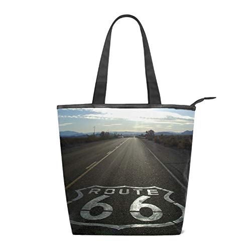 Womens Canvas Bag Hobo Bag Route 66 Driving Time Large Tote Messenger Shoulder Purse with Zipper Casual Work Travel Bags