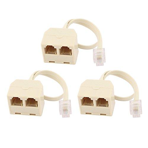Three Way Phone Adapter (Saim RJ11 6P4C 2 Way Outlet Telephone Jack Line Splitter Adapter Beige 3 Pcs)