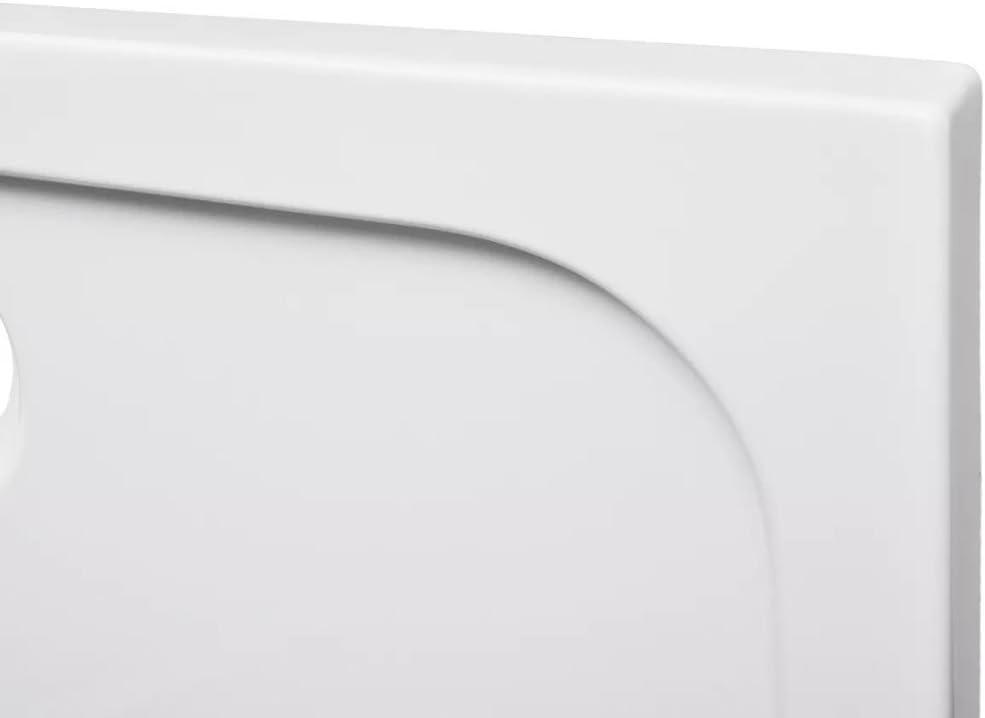 L x l x H yorten Receveur de Douche rectangulaire Anti-Glisse pour Salle de Bain Blanc Seuil Bas 70 x 100 x 4 cm