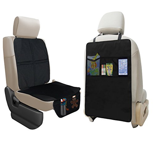 Sale!! lebogner Car Seat Protector + Kick Mat Auto Seat Back Protector with 3 Organizer Pockets, Durable Quality Seat Covers + Waterproof Kick Guards to Protect Your Leather and Upholstery Seats from Damage