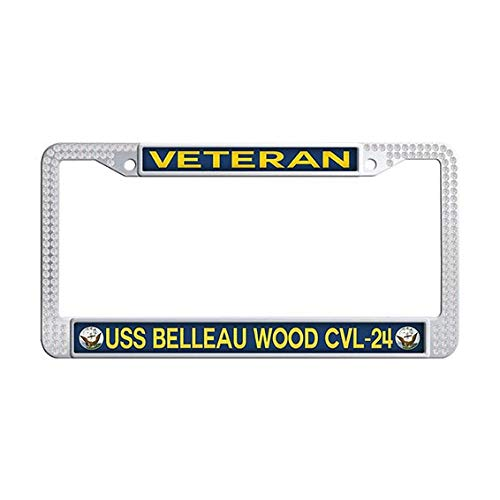 USS Belleau Wood CVL-24 Veteran License Plate Frame Holder,White Rhinestones US Navy Military Car Auto Tag Frame