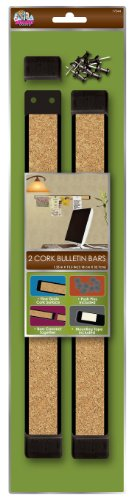 Board Dudes 12 x 1 Inches Plastic Framed Cork Bulletin Bars 2-Pack (Cork Bar)