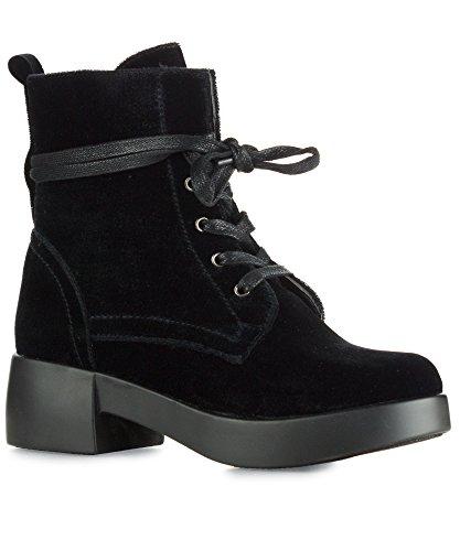 RF ROOM OF FASHION Women's Vegan Velvet Lace Up Platform Heel Combat Boots - NO01 Black (8) (Black Up Shoe Velvet Lace)