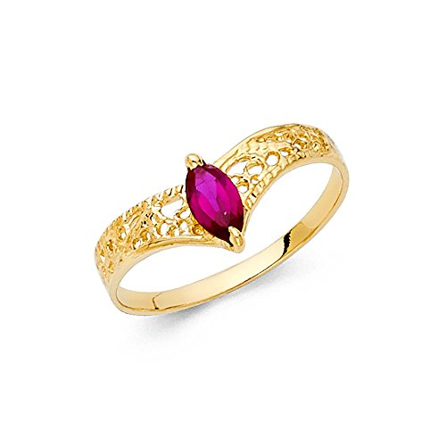 Gold V-shaped Ring Ring - Ioka - 14K Yellow Solid Gold Cubic Zirconia CZ V Shaped Fancy Ring - size 5.5