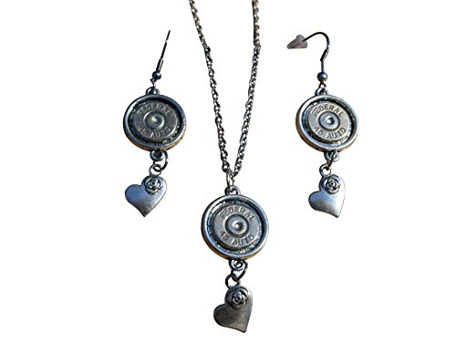 (Bullet Necklace and Earrings with Rose on Heart Charms and Nickel 45 Caliber Bullets. S678)