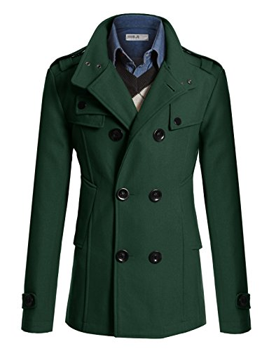 Doublju Mens Half Trench Coat GREEN (US-XL) by Doublju