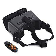 Omiky® combiné + 3d de réalité virtuelle Gamepad Controll, 4.0–15,2cm Noir VR Box Lunettes 3d Google en carton pour regarder des films et jeux 3d