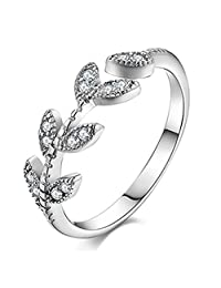 925 Silver Plated innovative Cubic Zirconia Elegant Leaf Women Open Band Ring,Adjustable