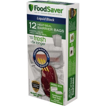 FoodSaver Liquid Block 1-Qt Heat-Seal Barrier Clear Bags, 12pk
