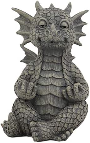 Ebros Whimsical Meditating Dragon Fists Inner Qi Strength Power Statue 5 Tall Faux Stone Resin Finish Fantasy Animated Dungeons And Dragons Welcome Guest Greeter Decor Figurine Home Kitchen