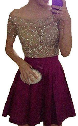 Short Shoulder Prom The Dresses Homecoming Top Burgundy Beaded Dresses BD478 Satin Off BessDress Party 0xzqEFnB