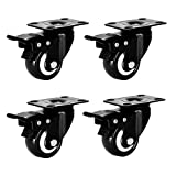 RodwayT Swivel Caster Wheels with Safety Dual Locking and Polyurethane Foam No Noise Wheels, Heavy Duty Caster Set of 4 (1.5 inch)