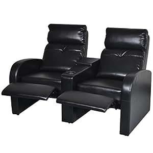 Amazon.com: Tidyard - Sofá reclinable de piel sintética, 2 ...
