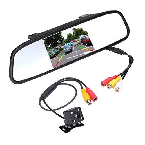SANON Achteruitrijcamerakit Parkeerhulpsystemen Super Mini-Back-Upcamera Met 4. 3 Auto Tft Lcd-Spiegelmonitor Nachtzicht…