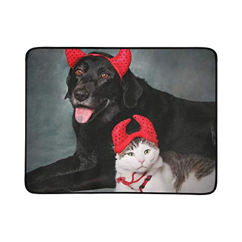 YSWPNA Cat and Dog Wearing Devil Halloween Costumes Pattern Portable and Foldable Blanket Mat 60x78 Inch Handy Mat for Camping Picnic Beach Indoor Outdoor Travel -