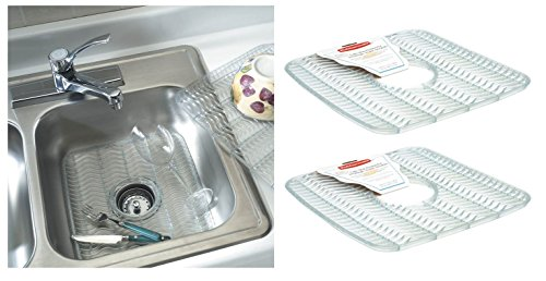 White Sink Mat - Rubbermaid Sink Protector with built-in Microban Antimicrobial (Baby Blue/Clear) 12.48