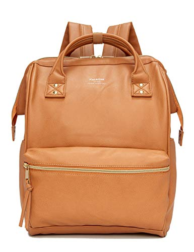 Kah&Kee Leather Travel Notebook Backpack Laptop School Diaper Bag for Women Man (Camel Beige) by Kah&Kee