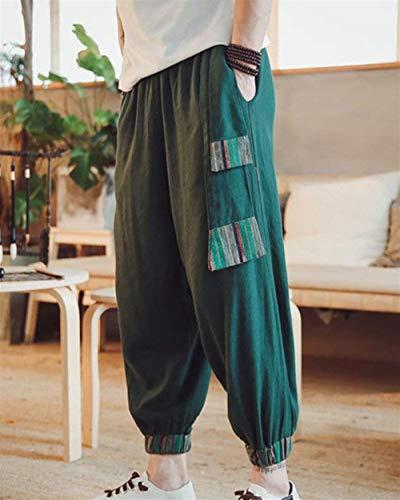 Chino Stile Classiche Ragazzi Zampa Laisla Lino Fashion Pantaloni Grün A D'epoca E Unita In Ampi Pants Aladdin Tinta Casual Da Uomo Vintage Xfagw