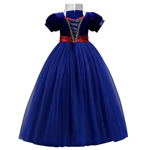 OwlFay Girls Princess Snow White Costume Dress Velvet Sequins Halloween Party Fancy Dressing up Cosplay Cartoon Queen Transforming Dress Pageant Long Dresses Gown for Kids Birthday Blue 14-15