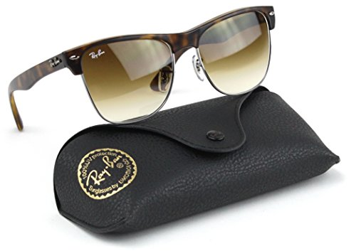 Ray-Ban RB4175 Clubmaster Oversized Flash Lens Unisex Sunglasses (Shiny Havana Frame/Brown Gradient Lens 878/51, ()