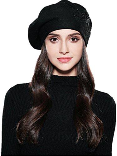 Women Beret Elegant Flower Rhinestones Autumn Winter Rabbit Wool Knitted Female Hats Caps (Black)