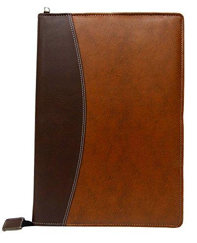 Gemson A3 Business Faux Leather Portfolio Zippered Closure Document Folder 20 Glass Clear Pockets Presentation Folder