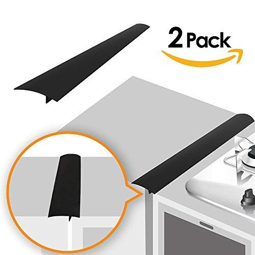 (Linda's Silicone Kitchen Stove Counter Gap Cover Long & Wide Gap Filler (2 Pack) Seals Spills Between Counters, Stovetops, Washing Machines, Oven, Washer, Dryer | Heat-Resistant and Easy Clean (Black))