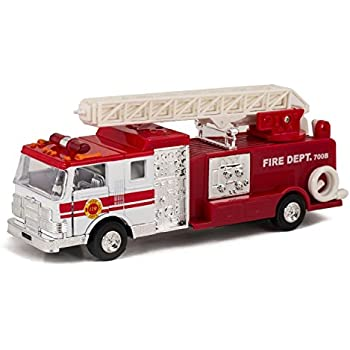 Red & White Fire Engine Truck with Ladder Children's Collectible Die-Cast Metal Toy with Pull-Back Action and Sound by Master Toy